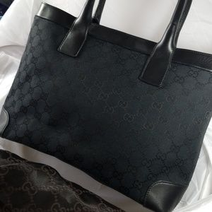 Gucci Black Monogram Shoulder Bag Tote